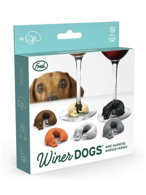 Fred Winer Dogs Dachshund Dog Drink Wine Markers Set Of 6