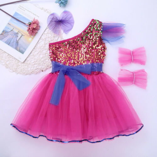 UK/_Girls Jazz Hip Hop Dance Dress Kids Sequined Outfit Leotard Dancewear Costume