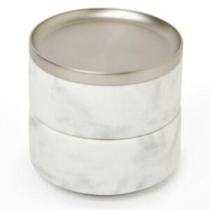 TESORA Aufbewahrung Schmuckdose weiß//Nickel