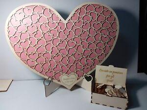 Guest book matrimonio libro degli ospiti dropbox legno puzzle cuore rosa