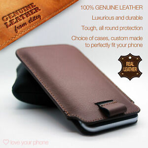 Brown-Luxury-Leather-Excellent-Protection-Style-Pull-Tab-Pouch-Phone-Case-Cover
