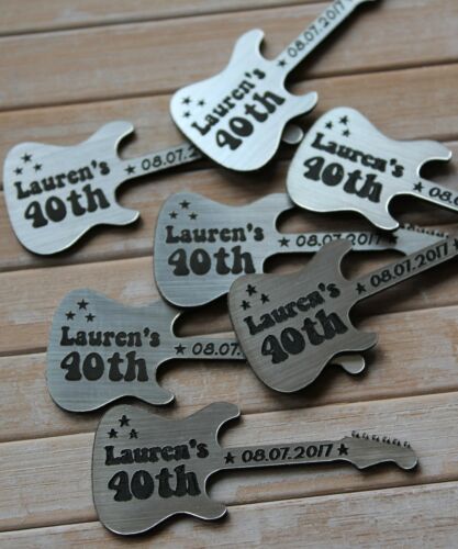 ELECTRIC GUITAR shaped Silver /& Black PERSONALISED Birthday Party Table Confetti