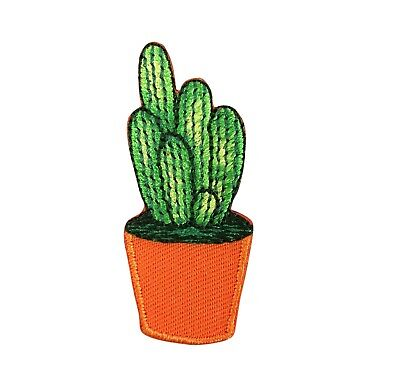 Cactus Pink Flower//Brown Pot Potted Plant Iron on Applique//Embroidered Patch