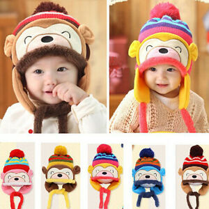 New Arrival Winter Warm Kid Baby Girl Boy Ear Thick Knit Beanie Cap Hat  Unique 23f050addc5