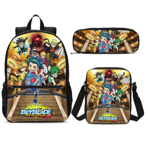 Beyblade Cartoon Boy Kids School Backpack Anime Crossbody Bag Pencil Bag Lot