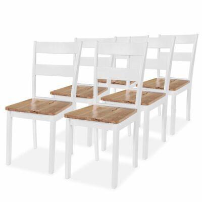 vidaXL 6x Sedie da Pranzo in Legno di Hevea Bianche Sgabelli Seggiole Cucina | eBay