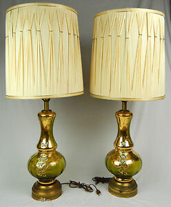 LARGE-38-034-HOLLYWOOD-REGENCY-MCM-GREEN-GILDED-TABLE-LAMPS-amp-SHADES-GOLD-BOHEMIAN