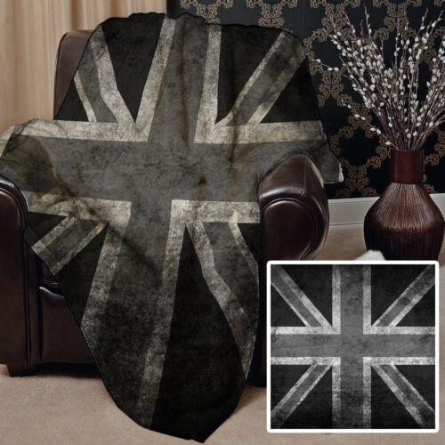 Grunge Black /& White Union Jack Design Soft Fleece Blanket Cover Picnic Throw