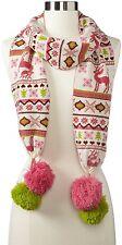 Muk Luks Women's Knit Scarf Large Poms Christmas Design Deer Snow Flakes Trees