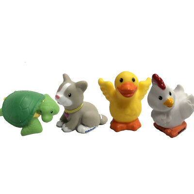 2pcs Fisher Price Little People Farm Barn Animals White Hen Chick /& Yellow Duck