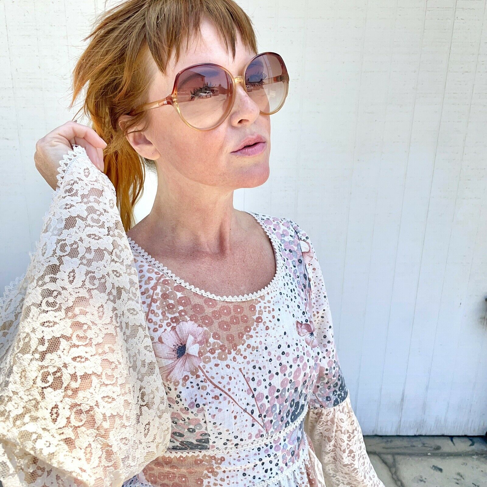 Vintage 70s Floral Maxi Dress Lace Sleeves Fairyc… - image 7