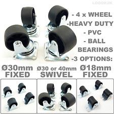 4 X Heavy Duty 18 30 40 Mm Swivel Or Fixed Castor Wheels Trolley Furniture Pvc