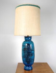 Vtg bitossi aldo londi rimini blue pottery table lamp mid century image is loading vtg bitossi aldo londi rimini blue pottery table mozeypictures Choice Image