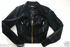 NEW bebe black cropped gold zipper long sleeve suede top coat jacket XS 0 2