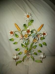 ITALIAN-TOLE-FLORAL-CANDLE-SCONCE-VINTAGE-Cottage-Chic-Shabby-Great-Color