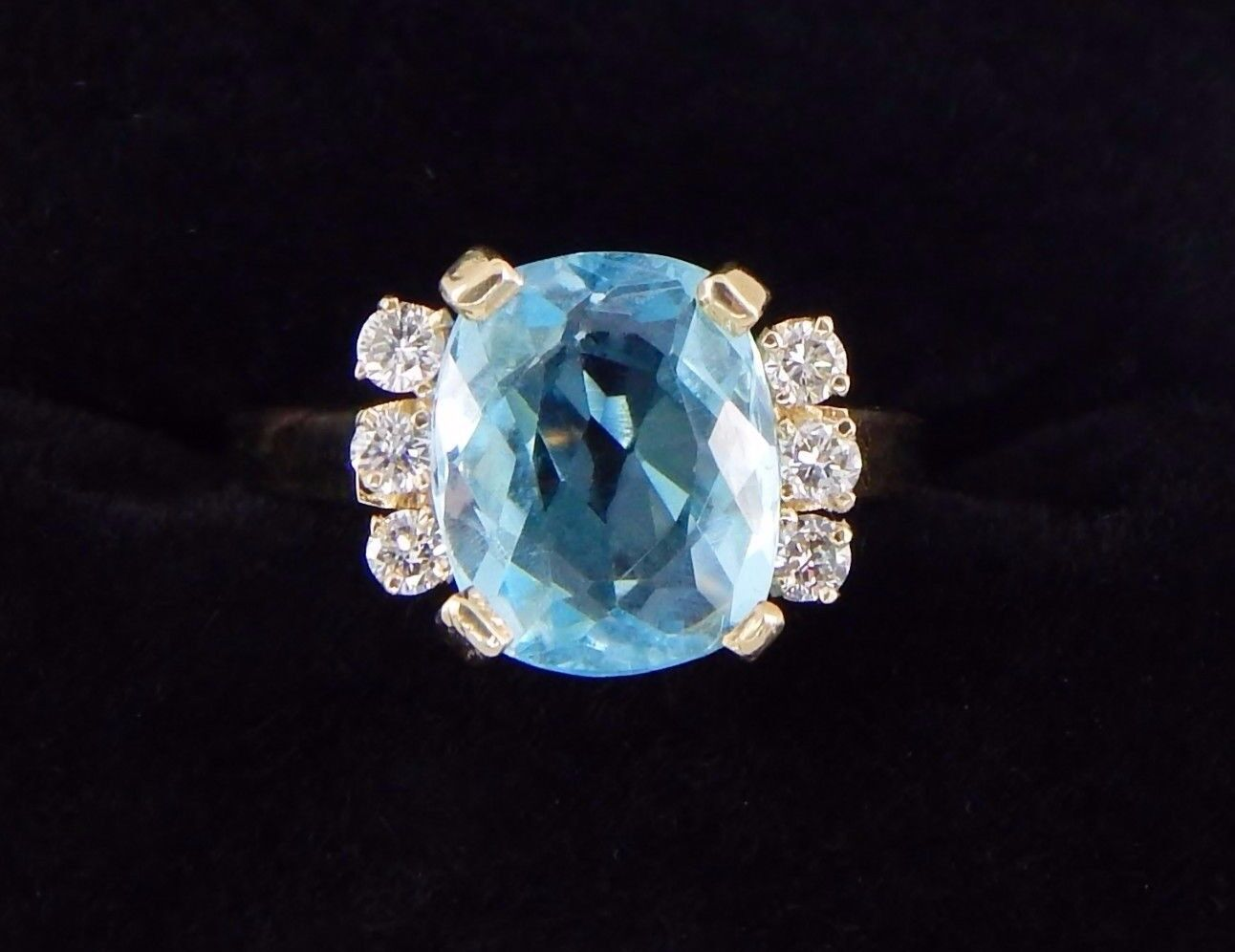14k 3.94 Carat Cushion Cut bluee Topaz SI1 G Diamond Ring Size 7