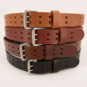 Men-039-s-Double-Prong-Full-Grain-Heavy-Duty-Leather-Belt-2-Hole-USA-Made-By-Amish