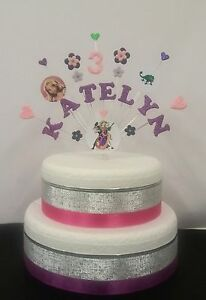 Image Is Loading Tangled Rapunzel Cindrella Princess Personalised Birthday Cake Topper