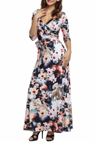 Multi Dark Floral 3//4 Sleeve Wrapped Belted Maxi Dress