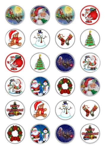 Merry Christmas Edible Cupcake Fairy Cake Toppers Rice Paper decoration edible
