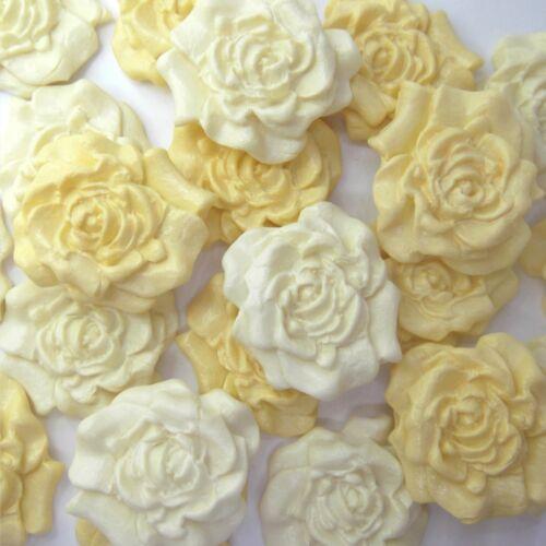 12 jaune pâle Crème sucre roses comestibles Décorations Gâteau Fleurs sugarpaste