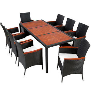 Ensemble Salon de jardin en résine tressée poly rotin table set 8+1 ...