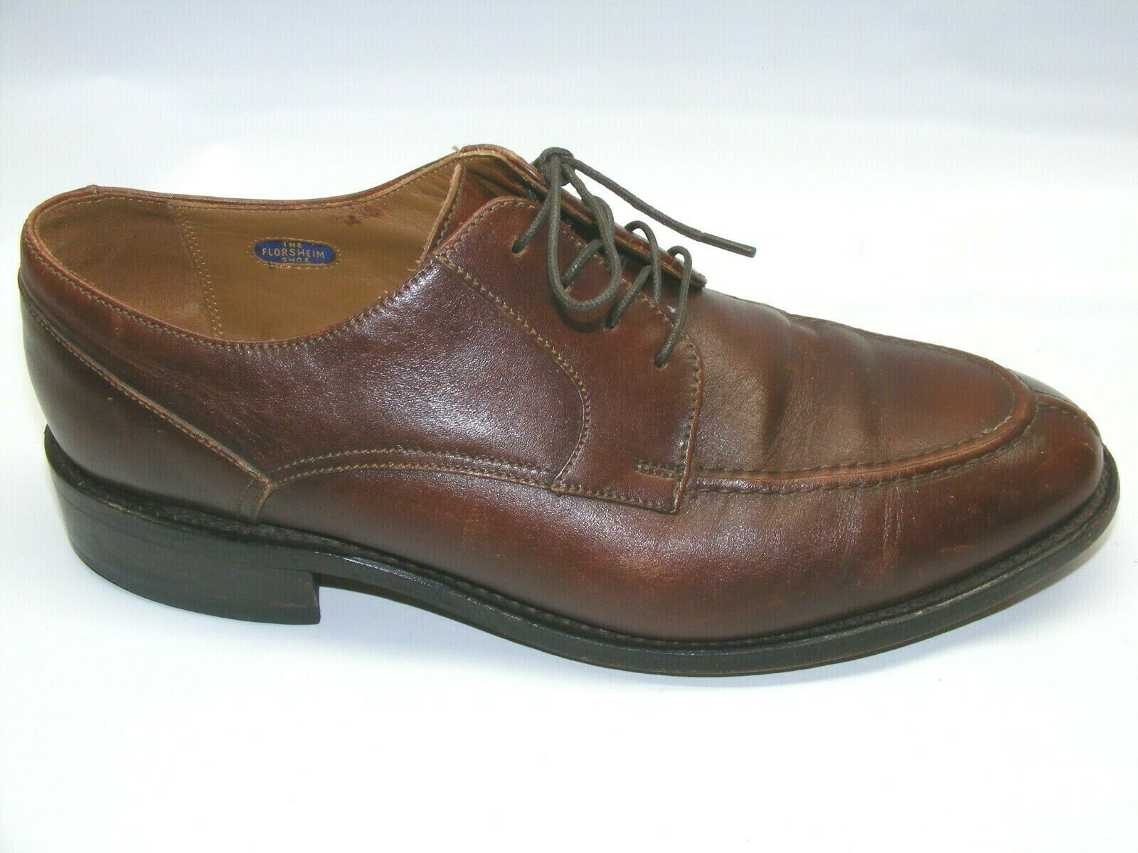 FLORSHEIM Men's Brown Size 9.5 Leather Oxford Dress shoes Split Toe Lace Up