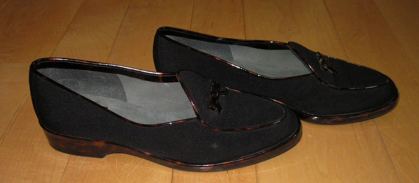 Stuart Weitzman Womens Black Suede w/Tortoise Slides Loafers 7 A *Sharp Must C*
