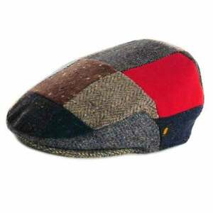 Donegal-Tweed-Flat-Patch-Cap-Patchwork-Ireland-New