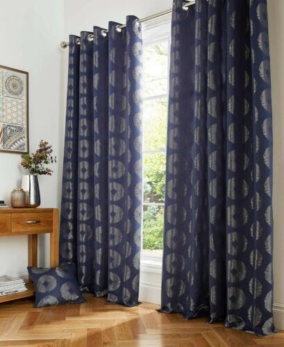 Four Colours Pair Cosmos Metallic Effect Lined Ring Top Curtains Range