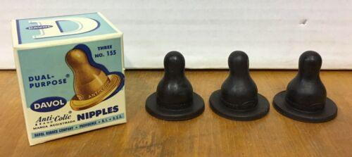 Old Store Stock Vintage 1950/'s Davol Dual-Purpose Anti-Colic Nipples Unused