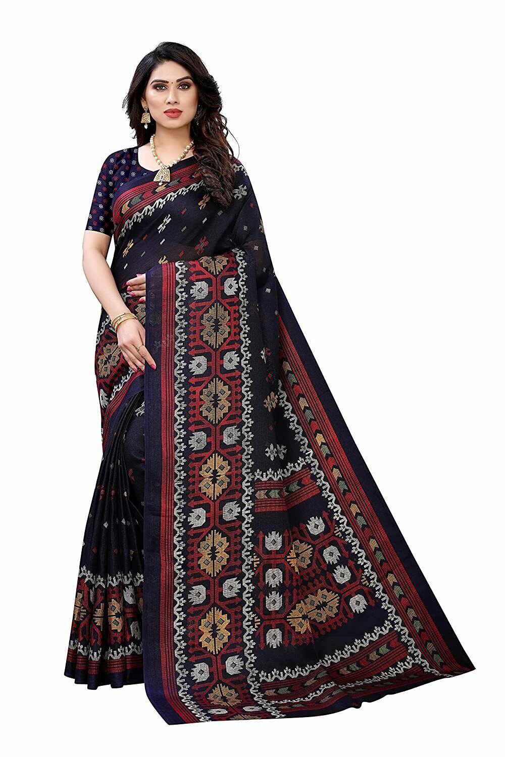 Women's Jute Printed Saree With Unstitched Blouse - Free Shipping
