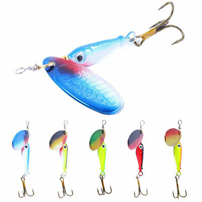 5pcs Spinner Crank Baits Bass Trout Spoon Metal Fishing Lures Bait with Hooks