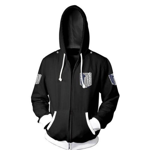 Chaleur 進撃の巨人 Shingeki no Kyojin Cosplay noir à manches longues Manteau Veste à capuche #HJ50