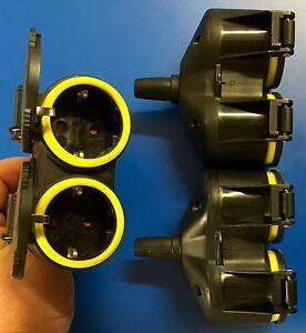 5 Stück Steckdose GUMMI Multistecker 2er Kupplung Schuko Steckdosenleiste QQ