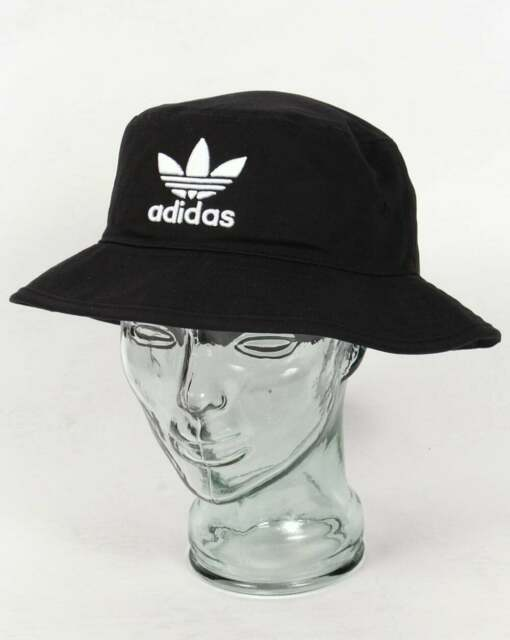 adidas Originals Bucket Hat in Black with embroidered trefoil logo in white
