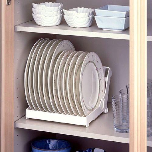 Foldable Dish Plate Drying Rack Organizer Drainer Plastic Storage Holder Kitchen
