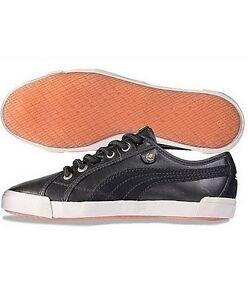 Details zu Puma Corsica L Shine Sneaker Low Gr.40 42 NEU Schwarz Damen Leder Freizeitschuhe