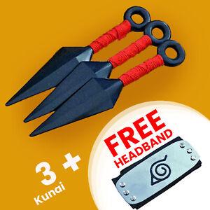 Naruto Kunai//Head Band Anime Cosplay Plastic Ninja Weapons Black /& Yellow