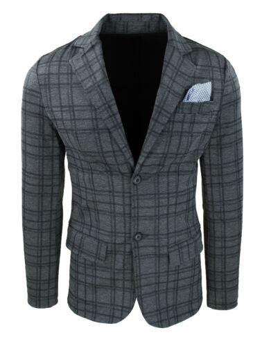 Giacca uomo slim fit grigio scuro quadri elegante con pochette da taschino