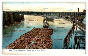 Early-1900s-Log-Float-on-Mississippi-River-St-Paul-MN-Hand-Glittered-Postcard