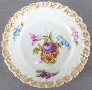 Carl Thieme Dresden Hand Painted Floral & Gold Toddy Plate Circa 1888 - 1891