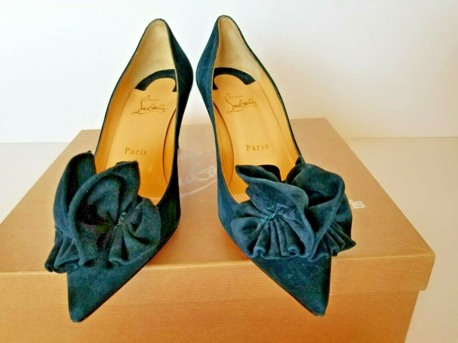 New Christian Louboutin  Anemosia Suede Bow Bow Bow Red Sole Pump Navy bluee  38  US 8 403943