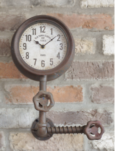 Industrial-Style-Pipe-Wall-Clock-Retro-Vintage-Metal-Steampunk-Urban-Warehouse