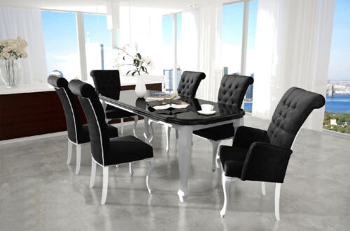 6x Chair Chesterfield Designer Upholstered Chairs Seat Sit Textile Set Ralf NEW