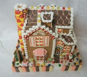Traditions Gingerbread House Boy Girl Christmas Lighted