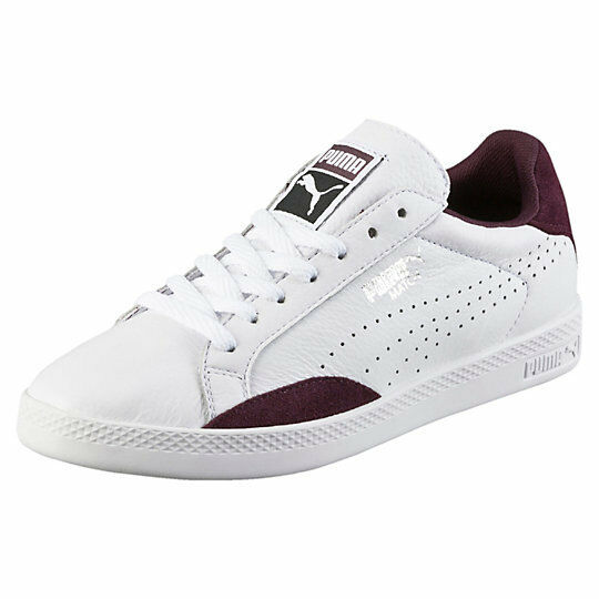 PUMA MATCH SPORTS LEATHER SNEAKERS WOMEN SHOES WHITE PURPLE 57543-17 SIZE 8 NEW
