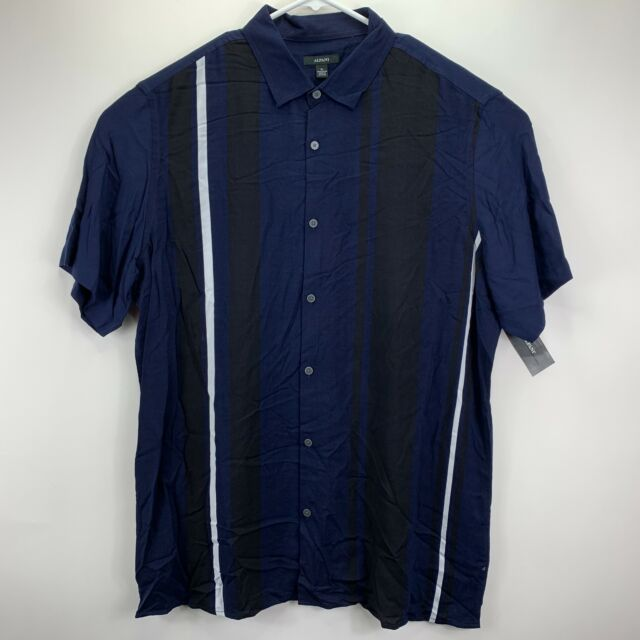 Alfani Mens Classic Fit Bowler Stripe-Print Rayon Button Down Shirt Navy Blue XL
