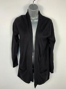 WOMENS-MARKS-amp-SPENCER-BLACK-DRAPE-OPEN-FRONT-CASUAL-CARDIGAN-POCKETS-TOP-SIZE-M