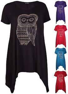 Womens-Owl-Print-Ladies-Sequin-Stud-Uneven-Hem-Long-Swing-T-Shirt-Top-Plus-Size